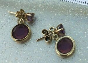 9ct Gold Amethyst Drop/Dangle Earrings