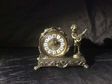 Collectable Rare Vintage Brass Splendex Mantel Clock with SINGLE Cherb-Working