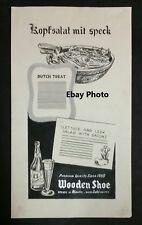 RARE Original Wooden Shoe Beer Advertising Agency Artwork - Minster, Ohio OH.