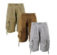 MSLM Men's Army Military Relaxed Fit Cotton Cargo Pocket Shorts