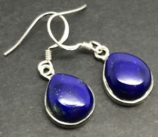 Lapis Lazuli Gemstone pear Drop Earrings Solid Sterling Silver, Actual Ones. UK