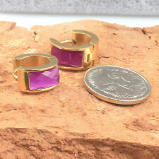 10 mm, Gold Toned Stainless Steel Huggie Hoop Earrings with Purple Crystal