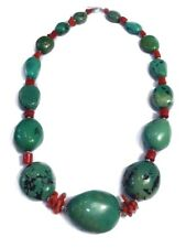 """NATURAL AMERICAN GREEN TURQUOISE RED CORAL CHUNKY NECKLACE STERLING SILVER 24.5"""""""