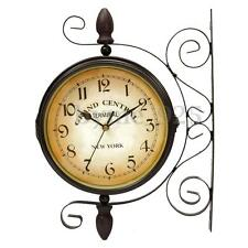 Rotating Double Wall Clock Outdoor Side Garden Station Wall Mounted w Bracket