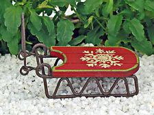 Christmas Sleigh ~Sled ~ Sledge ~ Fairy Garden Miniature ~  Wooden Ornament