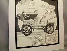 1904 Rolls Royce First One Auto Pen Ink Hand Drawn  Poster Automotive Museum