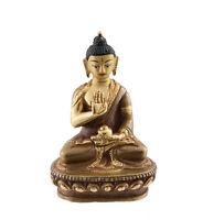 Estatua Tibetano De Buda Amoghasiddhi 8.5CM Cobre Y Baño de Oro AFR8-3254