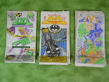 Huge lot of 30 McDonald's Happy Meal Paper Bags 1992, 1991 Jordan Batman J0801