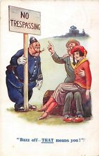 POSTCARD   COMIC    Policeman  Courting  Couple  No  Trespassing