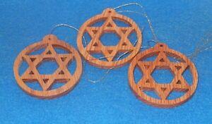 "Handcrafted 3"" Oak Star of David- Mogen David- Ornaments -Set of 3 Free Shipping"