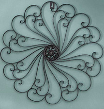 Indoor Outdoor Wall Decor Metal Scroll Living Sun Room Fence Front Porch Black