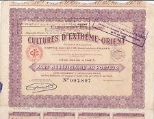Compagnie Française du cultures D 'Extréme-Orient-Action v.1927