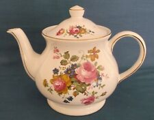 SADLER PINK ROSES BOUQUET GOLD LARGE TEAPOT 2½ PINTS TEA TIME MADE IN ENGLAND