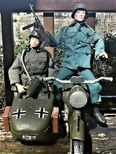 Vintage G I Joe  German Motorcycle/Sidecar,Stickers, Acc (2) 1/6th Figures incl