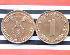 RARE GERMAN Coin 1 REICHSPFENNIG 1939 B COPPER SWASTIKA THIRD REICH Nazi WW2 UNC