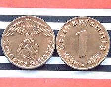 GERMAN Coin 1939 B 1 REICHSPFENNIG SWASTIKA COPPER 3RD Nazi WW2 +UNC+ RARE