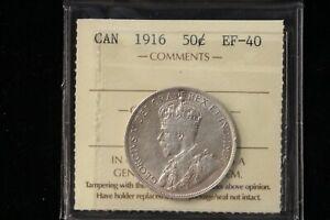 1916 Canada. 50 Cents. ICCS Graded EF-40. (XLK953)
