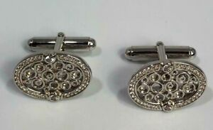 925 Sterling Silver Oval Cufflinks with cubic zirconia