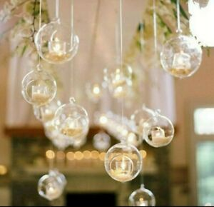 6x Clear Hanging Glass Baubles two of each size 6cm & 8cm & 12cm