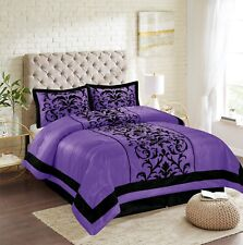 New Empire Home Purple Donna Damask 4-Piece Comforter Set Bed In A Bag Sale!