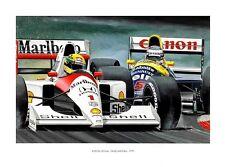 POSTER ARTWORK PRINT / DESSINS F1 A. SENNA / N. MANSELL 1991 by CLOVIS