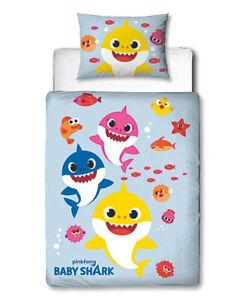 NEW Baby Shark Reversible Design Toddler Duvet Cover & Pillowcase Set