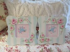 Shabby Chic Hand Painted Roses - Set of Two Bluebird Plaques