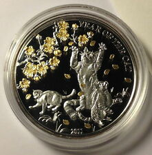 2011 Togo Lunar Year of the Cat 1 Oz Silver Coin Vietnamese Zodiac Proof Gilded
