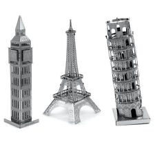 SET of 3 Fascinations Metal Earth Model Kit Big Ben, Eiffel Tower, Tower of Pisa