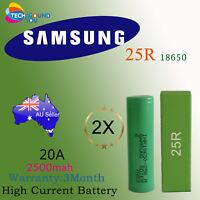 2x Samsung INR 18650 25R 2500mAh E-Cig Vape MOD High Current 20A 20Amp Battery