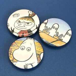 SET OF 3 25mm ONE OF A KIND MOOMIN STYLE BUTTON PIN BADGE