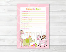 Safari Girl Jungle Animal Printable Baby Shower Wishes for Baby Advice Cards