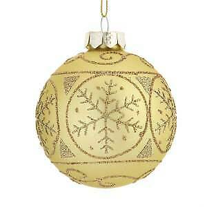 80MM Gold With Gold Snowflake Glass Ball Ornaments, 6-Piece Box Set w