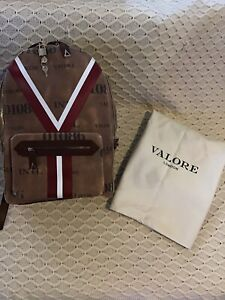 Luxury Valore Y Piloti Canvas Leather Backpack New With Dust Bag And Keys