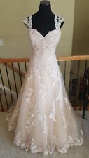 2017 NWT! $1460 Casablanca 2289 Amber Blush Champagne Lace Wedding Dress Size 16