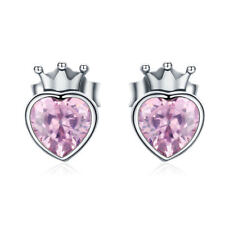 925 Sterling Silver Love Heart Pink CZ Coronation For Love Crown Stud Earrings