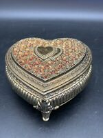 """Vintage Heart Trinket Box Footed Red Felt Liner Japan 2 3/8"""" Tall Jewelry Box"""