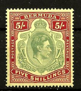 BERMUDA  (490) 1938 5/-  SG118a PALE-GREEN/RED-YELL (CHALKY) P 14 VERY FINE UMM