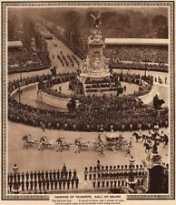 CORONATION 1937. Fanfare of Trumpets. Roll drums. Coach. The Mall 1937 print