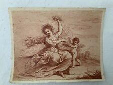 Antique Red Engraving Print After Cipriani Nymph & Cupid