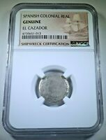 NGC Genuine El Cazador Shipwreck 1761 1 Reales Antique 1700's Silver Pirate Coin