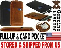 # SLIM PULL-UP & POCKET CARD GENUINE LEATHER CASE COVER SLEEVE POUCH FOR MOBILES