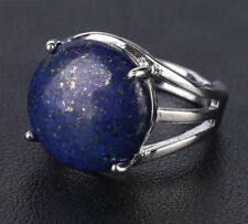 R674F Ring Silve Plated with Lapislazuli Blue round Adjustable Size