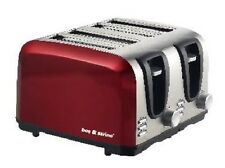 Deep Red Stainless Steel 4 Slice Bread Toaster Wide Slot Perfect for Big Family
