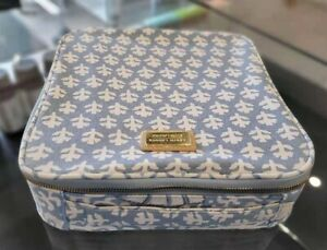 ESTEE LAUDER AERIN BLUELEAF CANVAS COSMETIC TRAVEL CASE BAG WITH HANDLE 9*9*2.5""