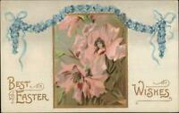 Easter Fantasy - Beautiful Women Faces in Flowers c1910 Postcard