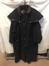 FLUID International Mens Black Trench Coat Sz XL Brown Leather Collar