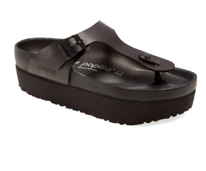 "PAPILLIO by BIRKENSTOCK ""Gizeh"" Black Leather Platform Sandals NWOB Size 7/37"