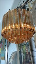 Murano Italian crystal Camer chandelier,rare clear with amber crystals,excellent