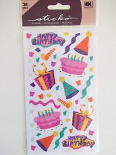 STICKO STICKERS - BIRTHDAY FUN cake gifts hats Happy Birthday